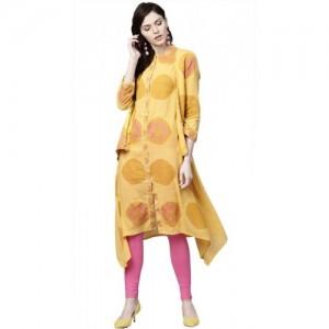 Ishin Women's Printed Kaftan Kurta(Yellow)
