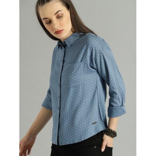 Roadster Women Blue & White Regular Fit Printed Casual Shirt