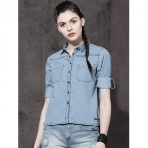 Roadster Fast and Furious Women Blue Regular Fit Solid Casual Shirt