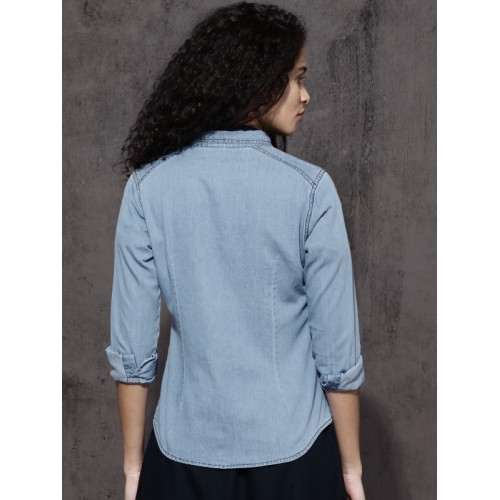 Roadster Women Blue Regular Fit Faded Casual Shirt