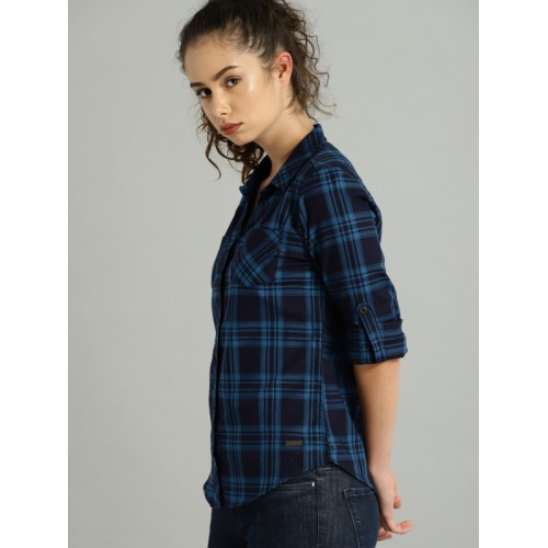 Roadster Women Navy Blue Checked Casual Shirt