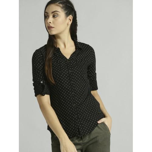 Roadster Women Black & White Printed Regular Fit Casual Shirt