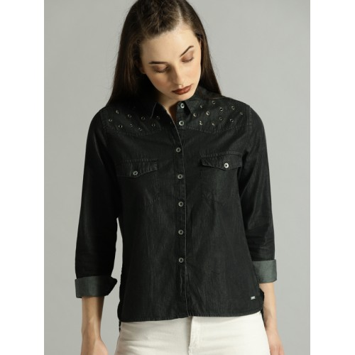 Roadster Women Black Solid High-Low Hem Denim Shirt