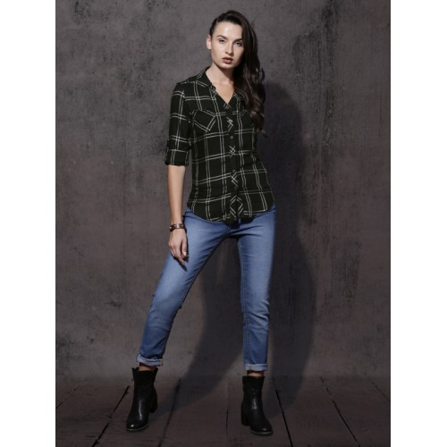Roadster Women Black Slim Fit Checked Casual Shirt