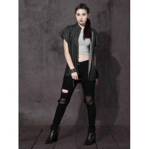 Roadster Women Self Design Casual Black Shirt