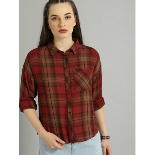 Roadster Women Red Regular Fit Printed Casual Shirt