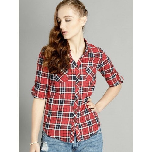 Roadster Women Red & Navy Blue Regular Fit Checked Casual Shirt
