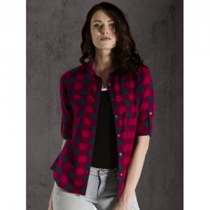 Roadster Women Red Regular Fit Checked Casual Shirt