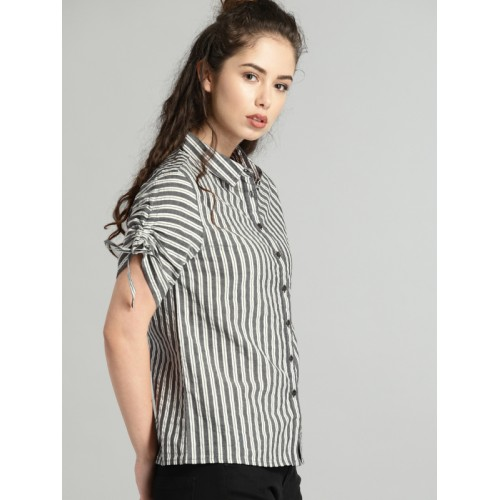 Roadster Women Grey & White Regular Fit Striped Casual Shirt