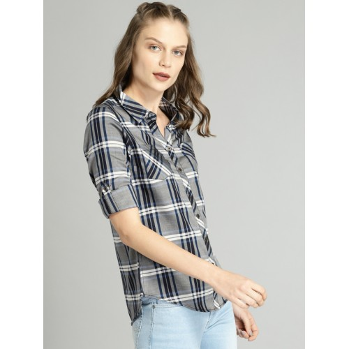 Roadster Women Grey & Black Regular Fit Checked Casual Shirt