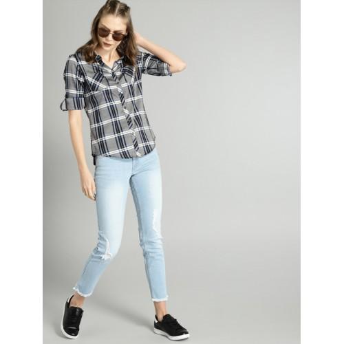 Roadster Women Grey & Black Regular Fit Checked Casual Shirt
