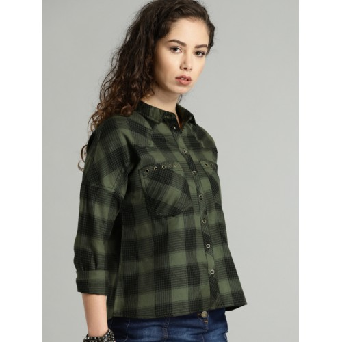Roadster Women Olive Green & Black Regular Fit Checked Casual Shirt