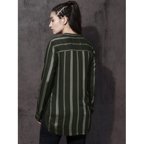 Roadster Women Olive Green & Beige Regular Fit Striped Casual Shirt