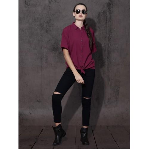 Roadster Women Maroon Regular Fit Solid Casual Shirt