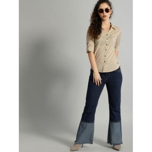 Roadster Women Beige & Navy Regular Fit Printed Casual Shirt