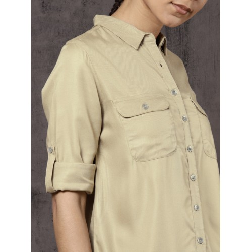 Roadster Fast and Furious Women Beige Regular Fit Solid Casual Shirt