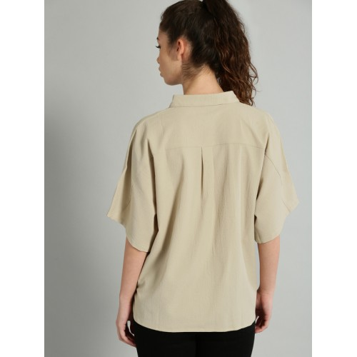 Roadster Women Beige Regular Fit Solid Casual Shirt