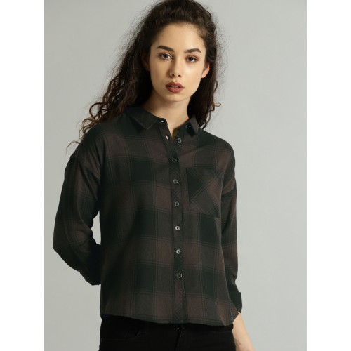 Roadster Women Brown & Black Regular Fit Checked Casual Shirt