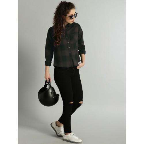 Roadster Women Brown & Black Regular Fit Checked Casual Shirt