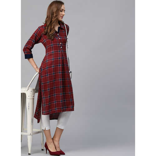 Shree Red & Navy Blue Checked Straight Kurta