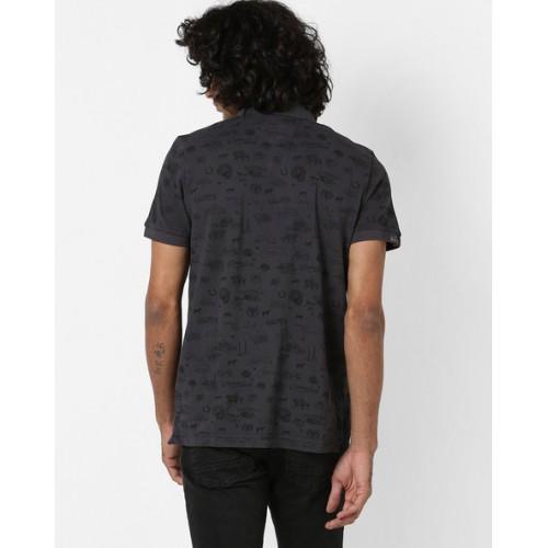 U.S. Polo Assn. Printed Polo T-shirt with Vented Hemline