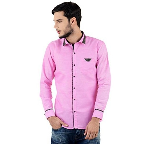 9bd64558 ... Casual Shirt for Men Long Sleeve / Cotton - Pink Colour (Plain) ...