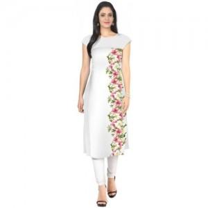 Ziyaa Women Floral Print Straight Kurta(White)