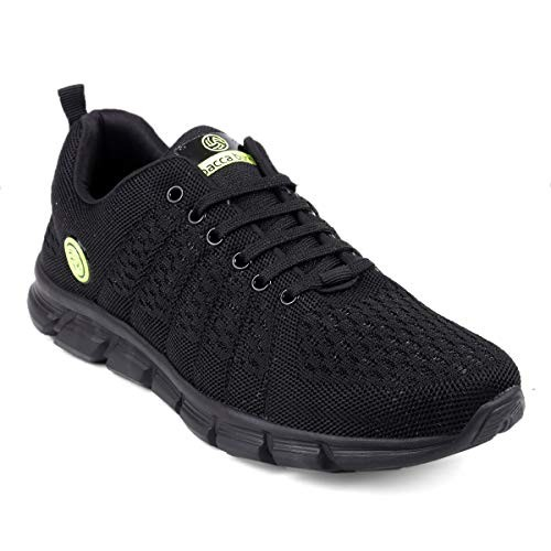 Bacca Bucci Men Casual Sports Shoes AIR Trainers-Gym Walking Running Athletic Competition Knitted Textile Light Weight Sport Sneakers - Black