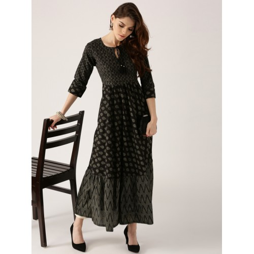 Libas Women Black & Grey Printed Anarkali Kurta