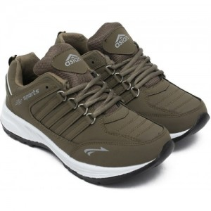 Asian Brown Mesh Lace Up Running Shoes