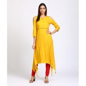 Vishudh Women's Solid Trail Cut Kurta(Yellow)