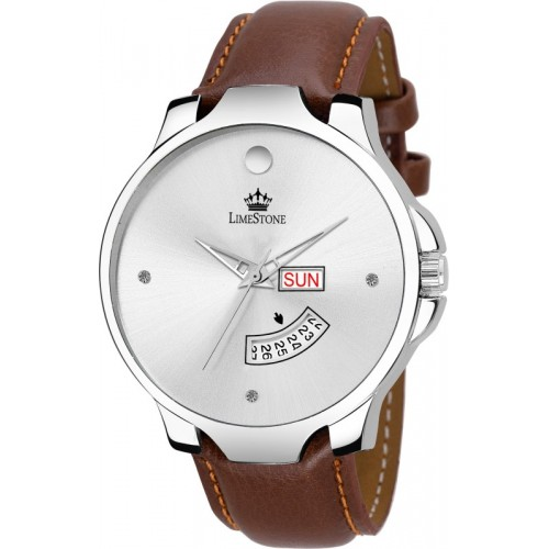 LimeStone LS2741 The Stud Day and Date Tan Strap Analog Watch  - For Men