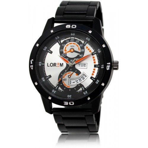 LOREM LK-0107 New Stylish Designer Day and Date Function Watch  - For Men