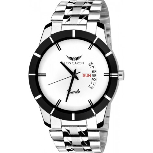 Lois Caron LCS-8074 WHITE DIAL DAY & DATE FUNCTIONING Watch  - For Men