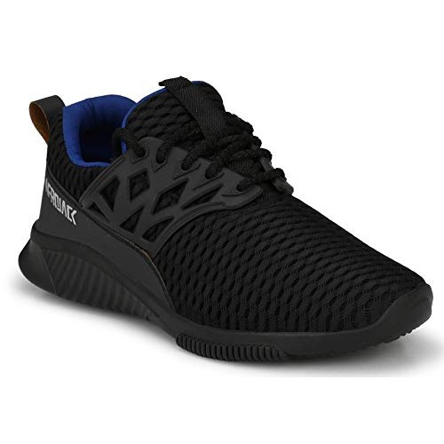 Afrojack Black Mesh Lace Up Running Shoes