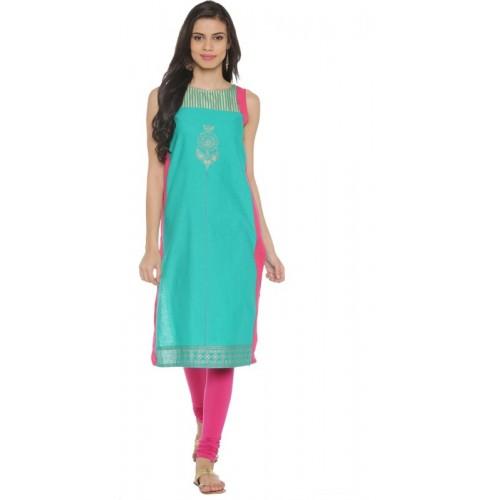 4136c2cf36d Buy Rangmanch by Pantaloons Women Printed Straight Kurta(Blue) online