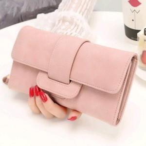Satyam Kraft Pink Leather Card Holder Purse Zipper Buckle Wallet