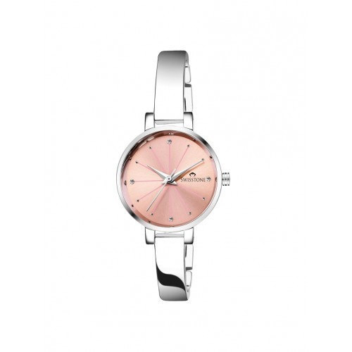 SWISSTONE Pink & Silver Stainless Steel Strap Watch