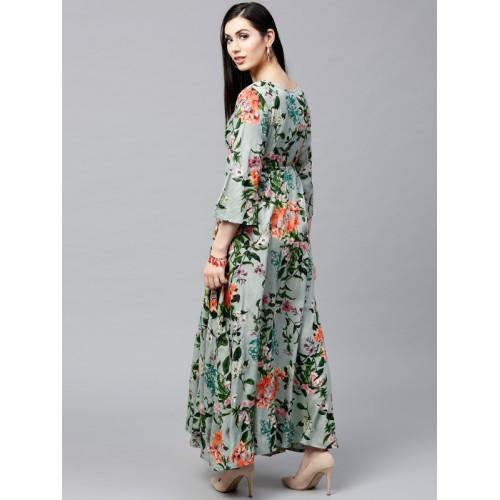 AKS Women Green & Orange Floral Print A-Line Kurta