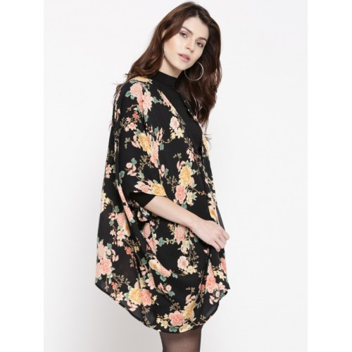 FOREVER 21 Women Black & Peach-Coloured Floral Print Shrug