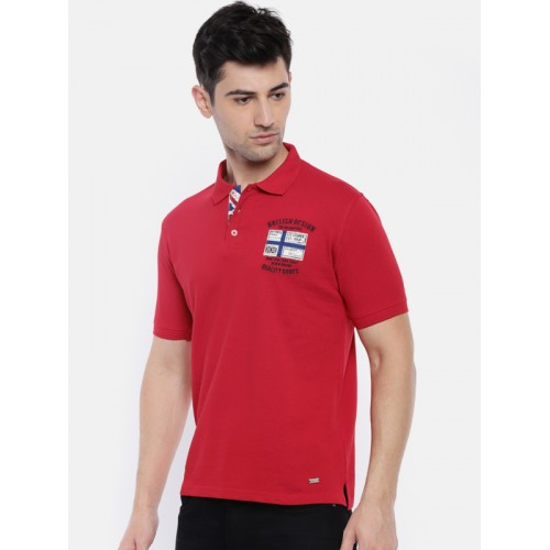 e4380bd4 Buy Lee Cooper Red Cotton Solid Men Polo Neck T-Shirt online ...