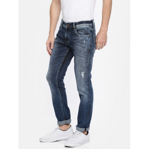 Lee Cooper Men Blue Slim Fit Mid-Rise Mildly Distressed Stretchable Norris Jeans