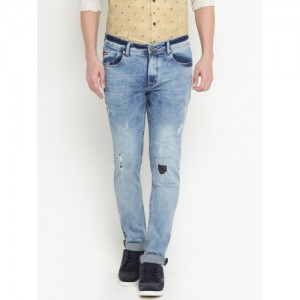 Lee Cooper Men Blue Frank Slim Fit Mid-Rise Low Distress Stretchable Jeans