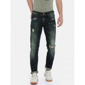 Lee Cooper Men Blue Slim Fit Low-Rise Mildly Distressed Stretchable Jeans