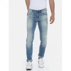 Lee Cooper Men Blue Comfort Slim Fit Mid-Rise Mildly Distressed Stretchable Jeans