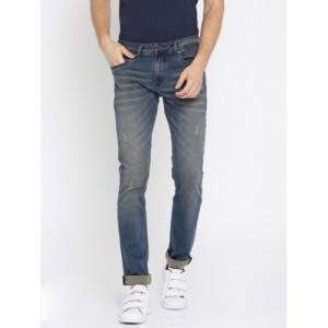 Lee Cooper Men Blue Frank Slim Fit Mid-Rise Clean Look Stretchable Jeans