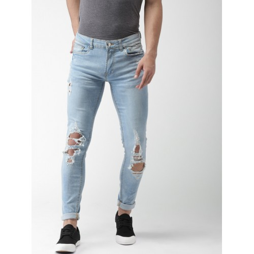 55df5608cb7 ... FOREVER 21 Men Blue Skinny Fit Low-Rise Mildly Distressed Stretchable  Jeans ...