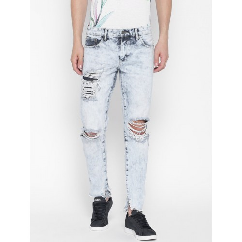 buy forever 21 men blue slim fit mid rise highly distressed jeans