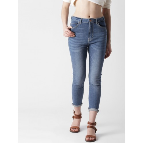a5b60946862 ... FOREVER 21 Women Blue Skinny Fit High-Rise Clean Look Stretchable Jeans  ...