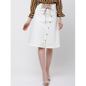 Tokyo Talkies White Solid A-Line Knee-Length Skirt